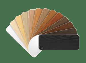 Stalenboek met houtsoorten, kleuren en materialen